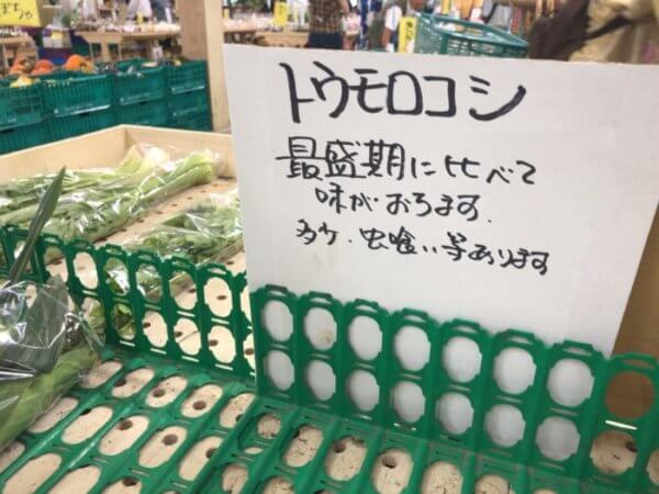トウモロコシの売り場