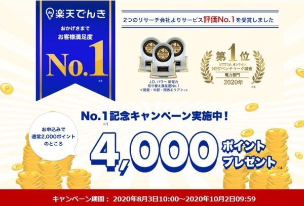 楽天でんきお客様満足語No.1 4000ポイントプレゼント