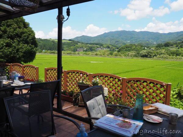 アゲイン中川村タイ料理店からの田園風景