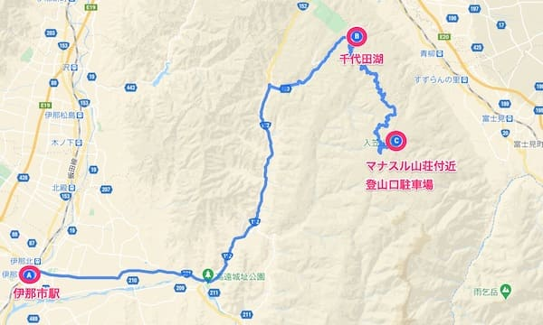 伊那市から千代田湖経由で入笠山に行くルート